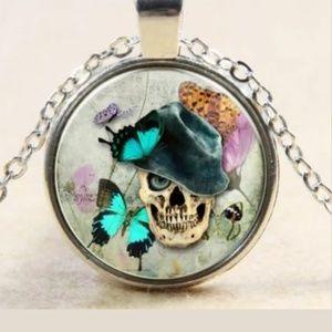 Skull W/ Hat & Butterflies Silver & Glass Necklace